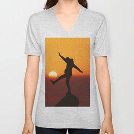 She Kicks the Sun (Color) Unisex V-Neck