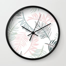 Large Pastel Palm Leaf Line Drawing Pattern - White Wall Clock