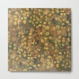 Golden Meadow, Abstract Floral Pattern,  Fiber Texture, Felted Wool  Metal Print