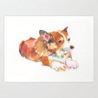 corgi Art Prints featuring Corgi by permanentmagenta