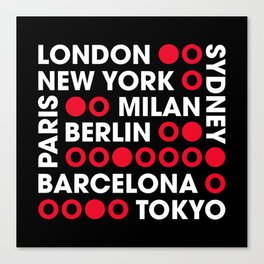 I Love This City Typography Black Canvas Print