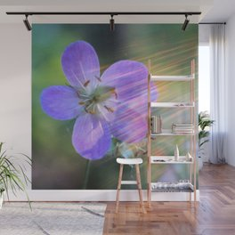 Purple Flower in Rainbow Lens Flare Wall Mural
