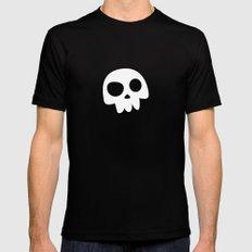 Skull Head logo with Three Teeth | Bones, white, pirates, symbolism, mortality, death, Halloween Black Mens Fitted Tee MEDIUM