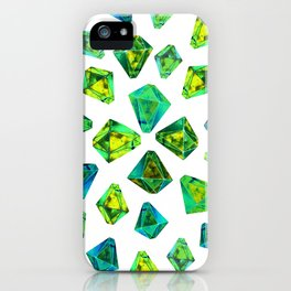 Green beautiful hand drawn gems. iPhone Case