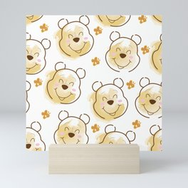 Inspired Pooh Bear surrounded with bees Pattern on White background Mini Art Print