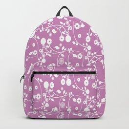 Violet Purple Floral Pattern Backpack