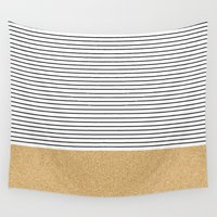 gold glitter Wall Tapestries featuring Minimal Gold Glitter Stripes by Allyson Johnson
