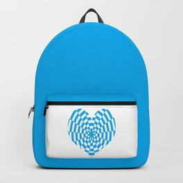 Monochrome Daze Cyan Blue Heart Backpack