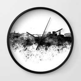 Luxembourg skyline in black watercolor Wall Clock