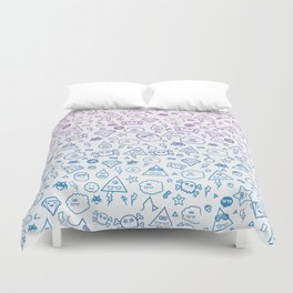 Cute & Sweet Monsters / Funny Clouds and Diamonds Duvet Cover