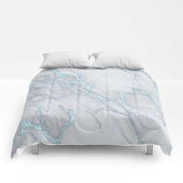 Marble Love Electric Blue Metallic Comforters