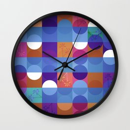 Game of circles with flowers Wall Clock
