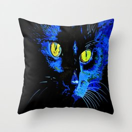 Marley The Cat Portrait With Striking Yellow Eyes Throw Pillow