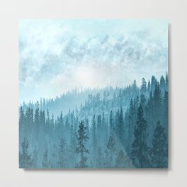 Here Comes The Sun - Misty Forest - Turquoise Metal Print