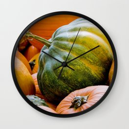Fall: Green Pumpkin Wall Clock