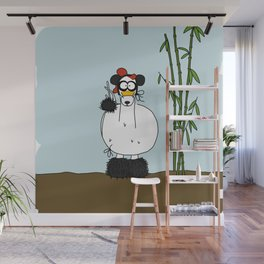 Eglantine la poule (the hen) dresses up as a panda Wall Mural