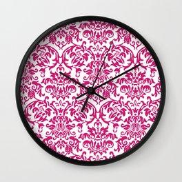 Elegant Damask Pattern (fuchsia) Wall Clock