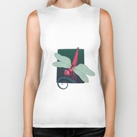 dragonfly Biker Tanks featuring Dragonfly by Justin McElroy