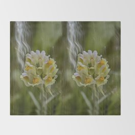 Yellow common Toadflax flower Throw Blanket