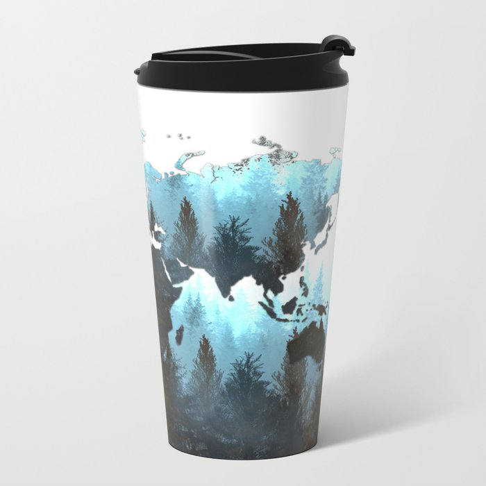 world map forest Metal Travel Mug