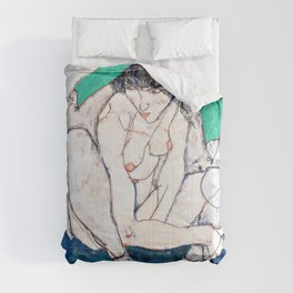 Egon Schiele - Crouching Woman with Green Headscarf - Digital Remastered Edition Comforters