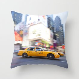 Yellow taxi cab in times square Throw Pillow