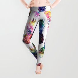 watercolor and nebula pineapples illustration pattern Leggings