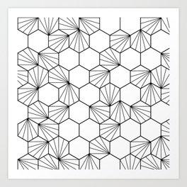 Peacock comb black white geometric pattern Art Print