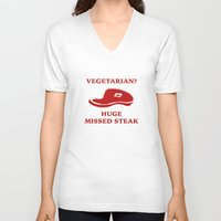 vegetarian V-neck T-shirts featuring Vegetarian? Huge Missed Steak by AmazingVision