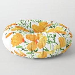 Watercolor California poppies Floor Pillow