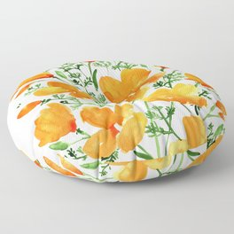 Watercolor California poppies Floor Pillow