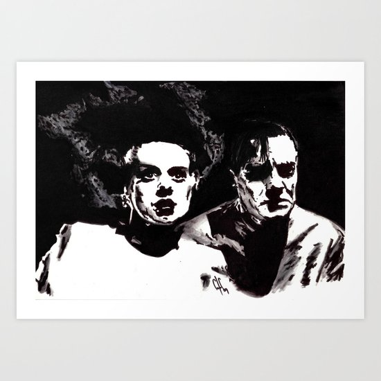 Dr Frankenstein and the Bride of the Monster Art Print