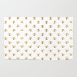 Gold Metallic Faux Foil Photo-Effect Bees on White Rug