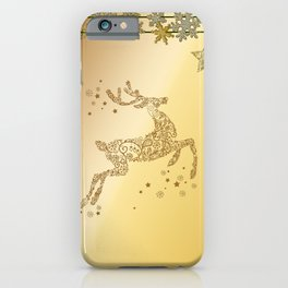 Christmas, beautiful golden reindeer with snowflakes iPhone Case