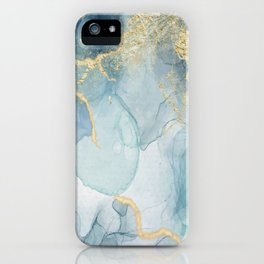 Dusty Blue Gold Accents Alcohol Ink  iPhone Case