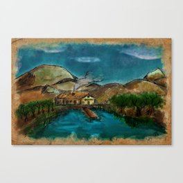 The House between Mountains and Lake Canvas Print