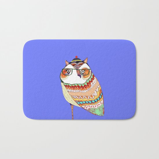 Owl, owl art, owl illustration, owl print,  Bath Mat