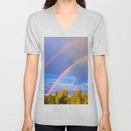 Double rainbow in autumn Unisex V-Neck