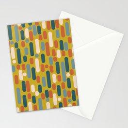 Morningside Heights Mid Century Modern Pattern in Orange, Steel Blue, Mustard Yellow Stationery Cards