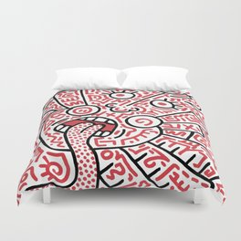 """""""The Face"""" - inspired by Keith Haring v. red Duvet Cover"""