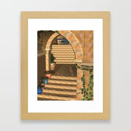 Old Town Stairs and Arches Framed Art Print