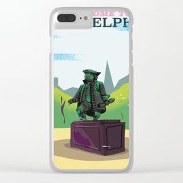 Philadelphia benjamin franklin statue vintage cartoon travel poster Clear iPhone Case