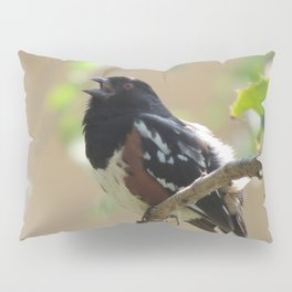 Spotted Towhee Scopes the Oak Grove Pillow Sham