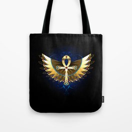 Gold Ankh with Wings Tote Bag