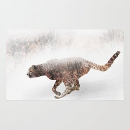 Double exposure of running cheetah and trees Rug