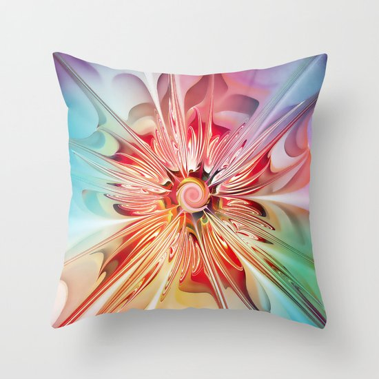 Splendid Fractal Flower Throw Pillow