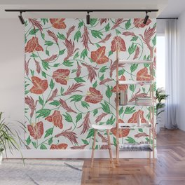 Rust red tropical flowers pattern Wall Mural