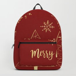 Merry Christmas Red and Gold Backpack