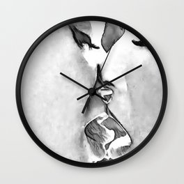 Girls Love - sexy lesbian girls kissing, black and white kinky erotic, hot gay woman Wall Clock