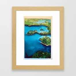 Boundary Waters Canoe Area - Aerial Watercolor Framed Art Print